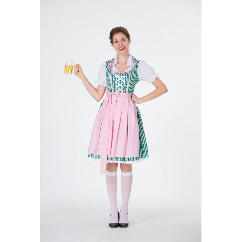 Women Oktoberfest Costume Large Size Dirndl Dress Adult Retro Lady Dress for Hallowmas green_S