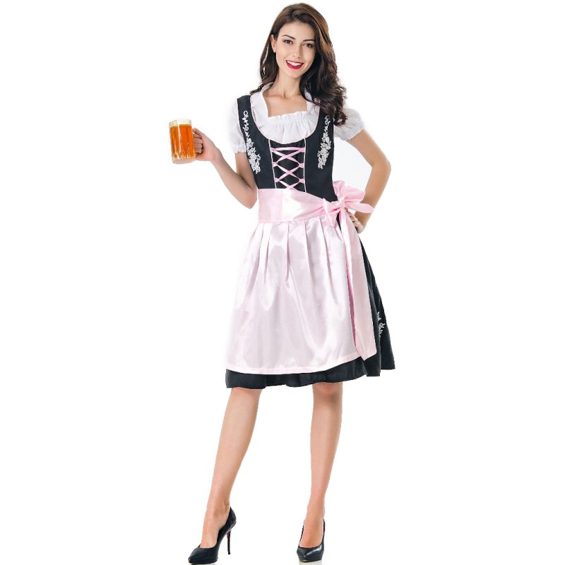 Women Oktoberfest Dirndl Dress Retro Embroidery Lady Housemaid Dress black_M