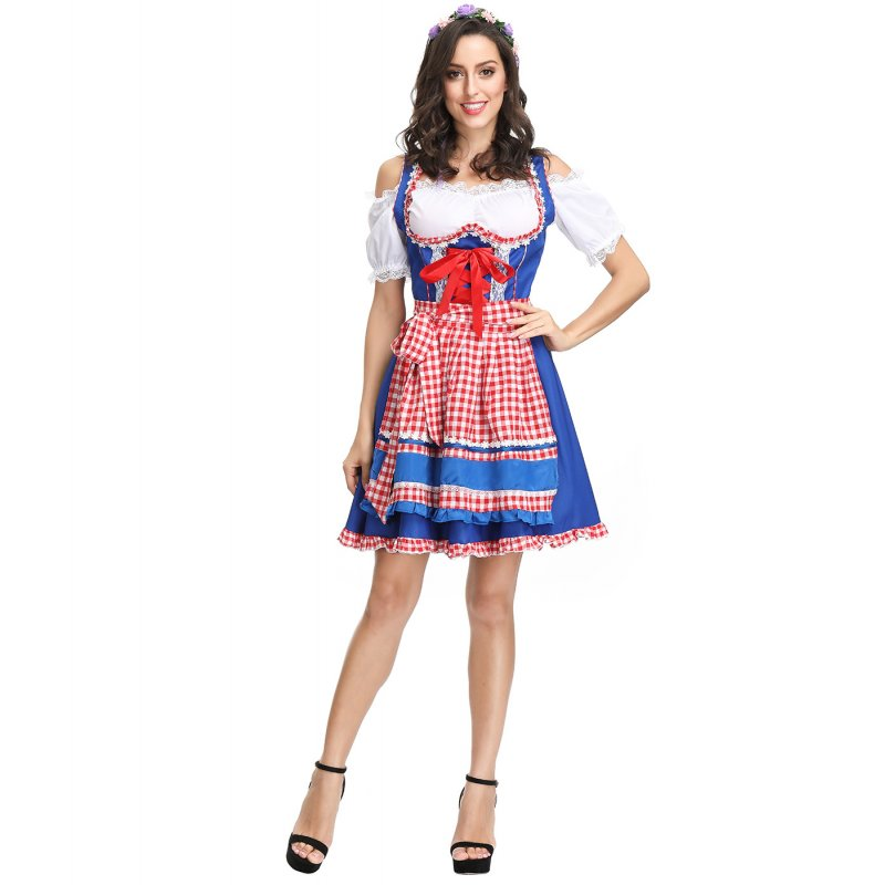 Women Oktoberfest Dirndl Off-shoulder Maid Cosplay Dress Costume Beer Festival Dress blue_XL