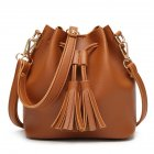 Women PU Leather String Shoulder Bag - Brown