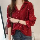 Women Chiffon Blouse Long Sleeves Tops -Red M