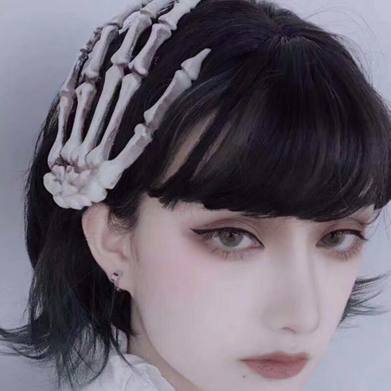 Women Punk Rock Halloween Cosplay Party Skeleton Hand Bone Hair Clip Big Hairpin  Without flower head buckle