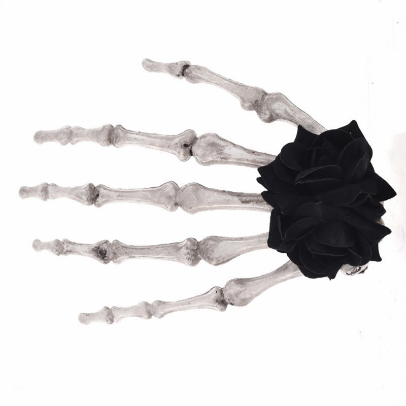 Women Punk Rock Halloween Cosplay Party Skeleton Hand Bone Hair Clip Big Hairpin  Black Flowers