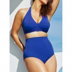 Women Sexy Halter Top Bikini Set Bandage Big Size High Waisted Swimsuit Plus Bathing Suit Girl Swimwear blue_XXXL