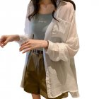 Women Shirt Lapel Solid Color Long Sleeves Loose Blouse Thin Sunscreen Tops Coat white_M