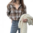 Women Shirt Plaid Shirt With Long Sleeves Lapel Tops Spring and Autumn vintage plaid shirt gray_S
