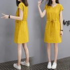 Women Short Sleeve Lacing Dress - Yellow S