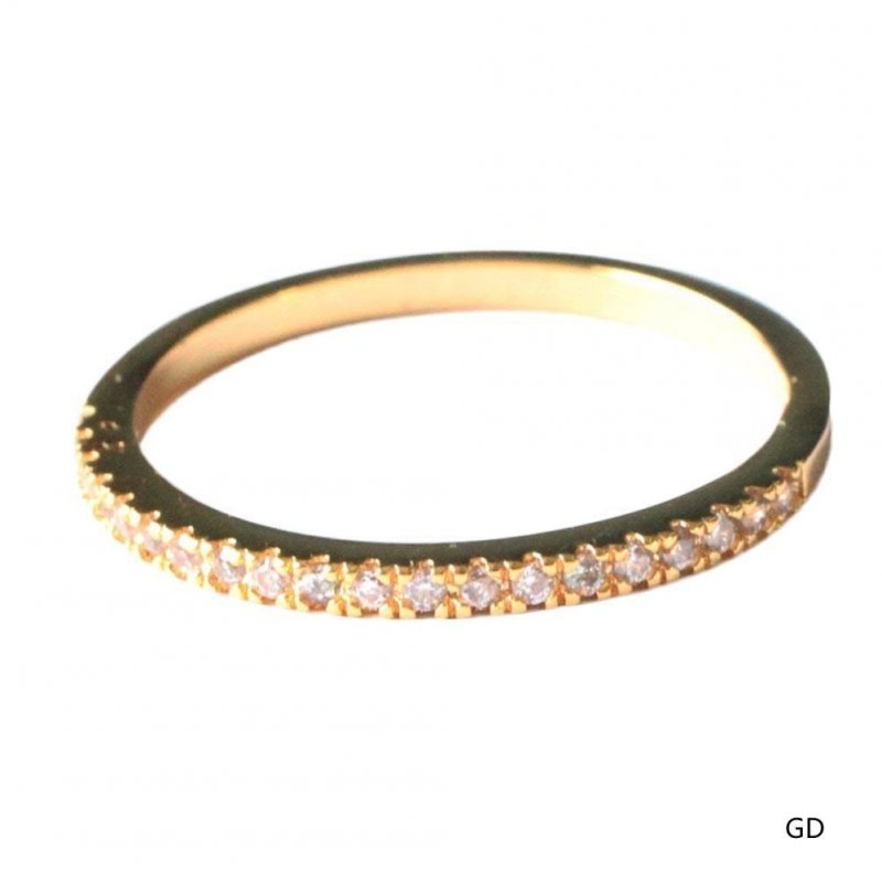 Women Simple Tail Ring Crystals Inlaid Fashionable Thin Finger Ring Jewelry Decoration