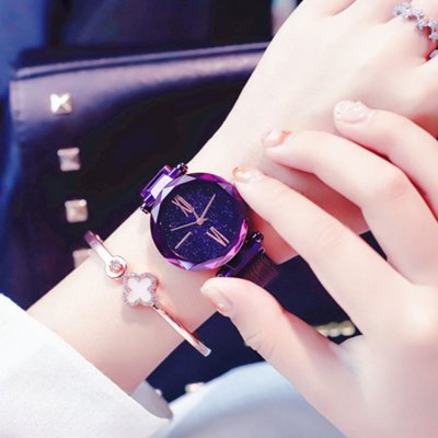 Women Simple Waterproof Starry Pattern Watch purple