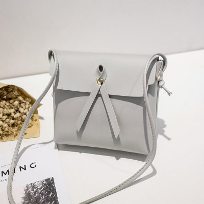 Women Single-shoulder Leisure Simple Retro Suqare Shape Bag light grey