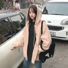 Women Solid Color Large Size Thin Zipper Hooded Sweatshirt Coat apricot_XXL