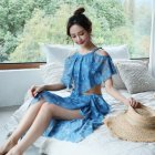 Women Split Sexy Hot Spring Swimwear Bikini Three-piece Suit Small Chest Gathered Swimwear Blue 5826_S