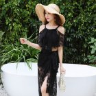Women Split Sexy Hot Spring Swimwear Bikini Three-piece Suit Small Chest Gathered Swimwear Black 5826_XL