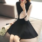 Women Spring Summer Flare Sleeve Slim Dress 830 black_M