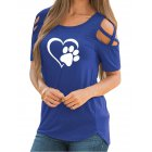 Women Stylish Off Shoulder Heart-shaped Printing T-Shirt Casual Round Neck Tops