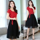 Women Summer Casual Fashion Stripe Pattern Short-sleeved A-shaped Dress red_M