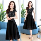 Women Summer Casual Fashion Stripe Pattern Short-sleeved A-shaped Dress black_L