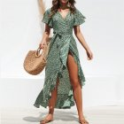 Women Summer Dot Print Sexy Chiffon Dress High Waist Lace Up Dress green_XL