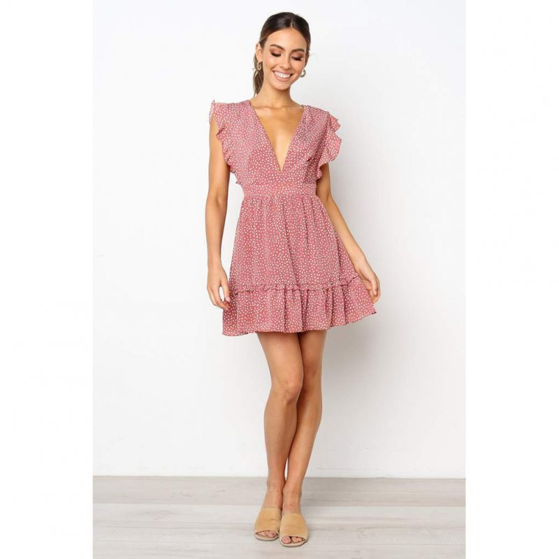 Women Summer Dotted Tied Lotus-leaf Sleeves V Collar Dress  Pink_M