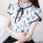 Women Summer Lacing Floral Printing Short Sleeve Chiffon Shirt  Light blue S