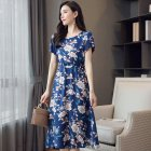 Women Summer Large Size Tight Waist Floral Printing Long Beach Dress 574#_XL
