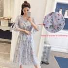 Women Summer Maternity Wear Pregnant Breastfeeding Chiffon Floral Loose Long Dress