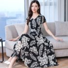 Women Summer Short Sleeve Fashion Printed Long Waisted Dress black white flower_L