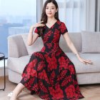 Women Summer Short Sleeve Fashion Printed Long Waisted Dress Red black flower_M