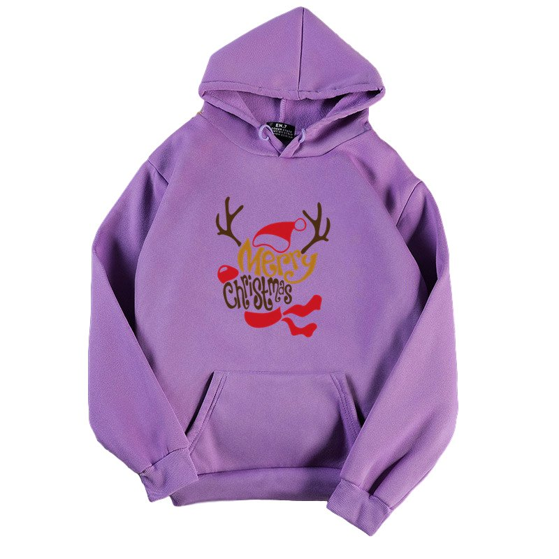 Women's Hoodies Autumn and Winter Printing Long-sleeves Hooded Sweater purple_XL