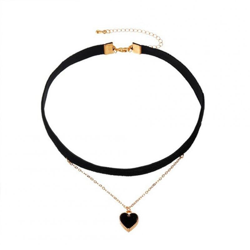 Women's Necklace Flannel Sexy Double-layer Love-heart Pendant Clavicle Chain black
