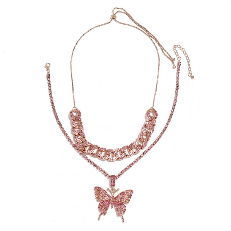 Women's Necklace Hip Hop Style Diamond-mounted Double-deck Chain Butterfly-shape Necklace Pink