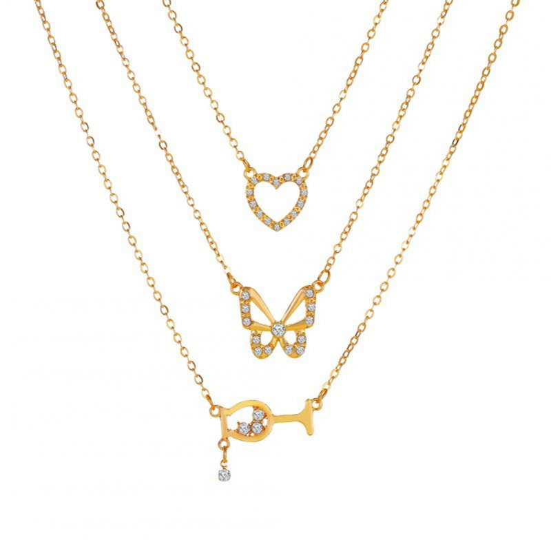 Women's Necklace Multi- Shapes Pendant Multilayer Combination Necklace Golden