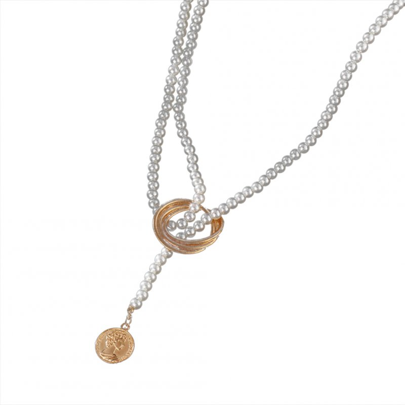Women's Necklace Retro Style Geometric Metal Pearl Clavicle Chain A01-02-15