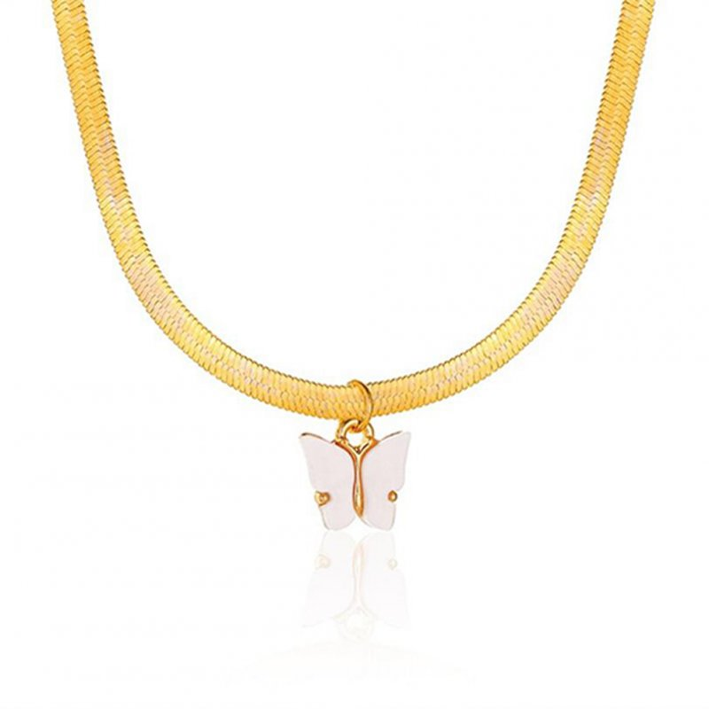 Women's Necklace Simple Style Butterfly-shape Clavicle Chain 01 white