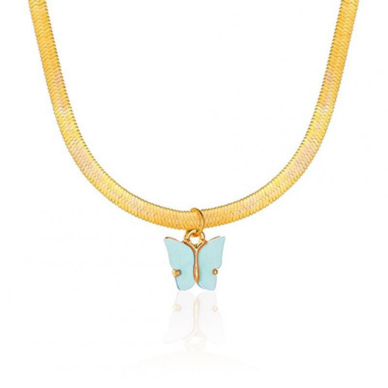 Women's Necklace Simple Style Butterfly-shape Clavicle Chain 04 blue