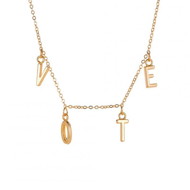 Women's  Necklace  Simple Style  Letter Pendant  Alloy  Clavicle Chain Golden