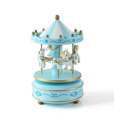 Wooden 4 Horse Rotating Carousel Figurine Music Box Birthday Christmas Children Gifts Toy 1#