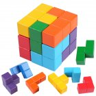 Wooden Building Blocks Set Smart Cube Mind Developmental Toy for Kids Children Colored cube
