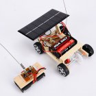 Wooden DIY Solar Powered RC Car Puzzle Assembly Science Vehicle Toys Set for Children