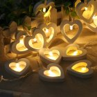 Wooden Heart A String of 10 LED  Lights Romantic Valentine's Day Christmas Birthday Wedding Party Decoration Lights Warm white