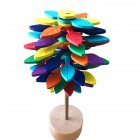 Wooden  Magic Wand Stress Relief Toy Rotating Lollipop Creative Art Colored leaves