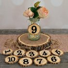 Wooden Number 1-10 Hanging Table Cards Reception Seat Card Hanging Pendant for Wedding Party Decoration 10Pcs/Set