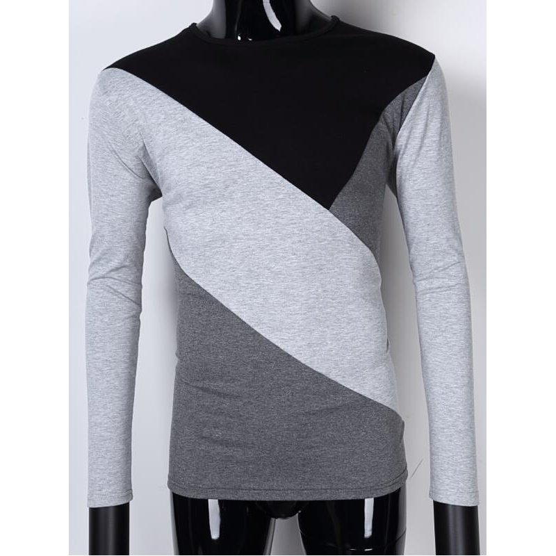[US Direct] Yong Horse Men's Contrast Color Crewneck Long Sleeve Basic T Shirt Top Black + light gray_XL