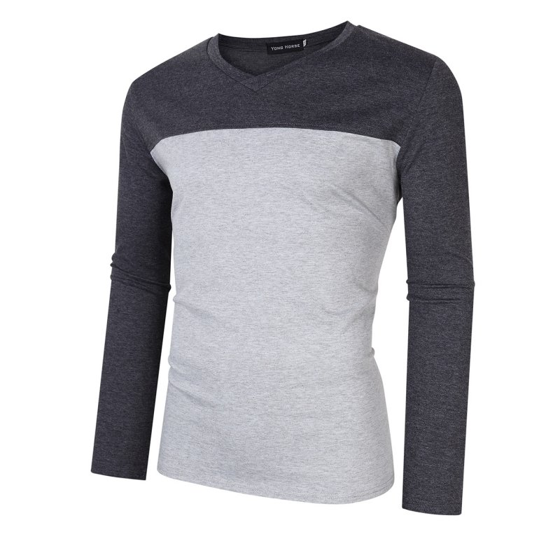 [US Direct] Yong Horse Men's Two Tone Slim Fit Long Sleeve Shirts V-Neck Basic Tee T-Shirt Top flecking gray_XL