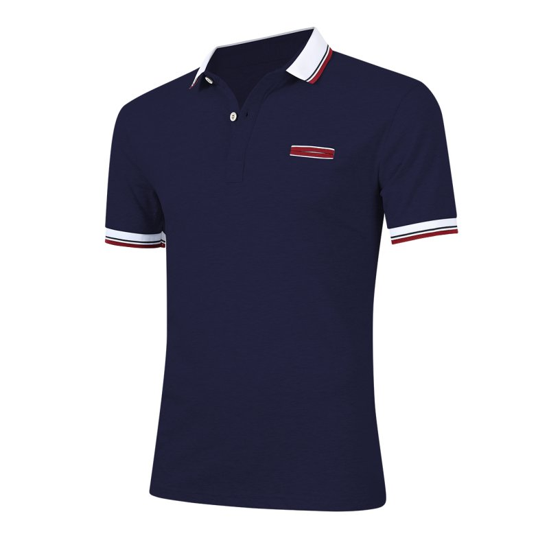 [US Direct] Young Horse Men Cotton Contrast Lapel Short Sleeve Slimming Polo Shirt Navy_5XL