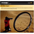 ZOMEI Ultra-Violet UV Filter Lens Protector for SLR DSLR Camera 72mm