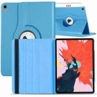 for Apple iPad Pro 11 / 12.9 3rd Gen 2018 360 Rotating Leather Smart Case Cover sky blue