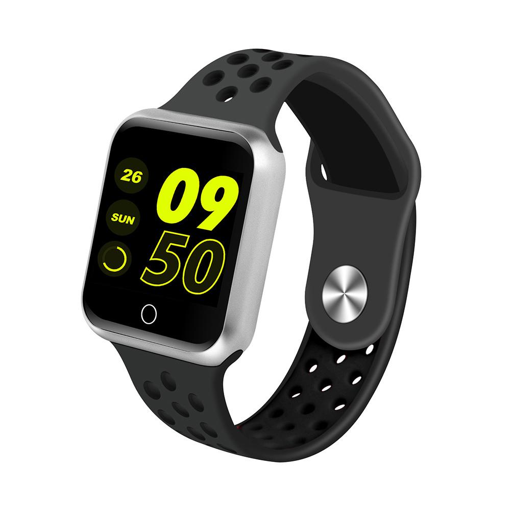 S226 Smart Watch Fitness Tracker Heart Rate Monitor Smart Bracelet Blood Pressure Pedometer  Silver shell + all black strap