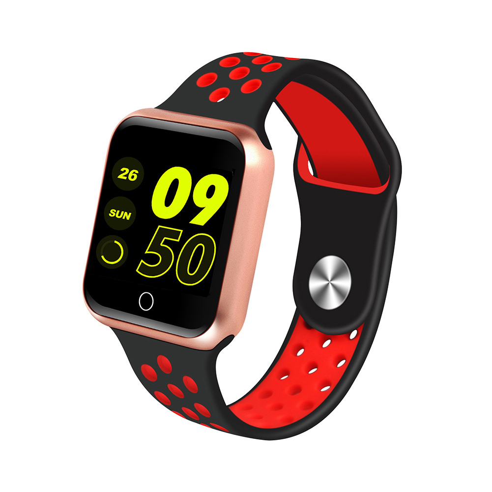 S226 Smart Watch Fitness Tracker Heart Rate Monitor Smart Bracelet Blood Pressure Pedometer  Gold shell + black red strap