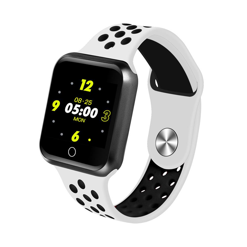 S226 Smart Watch Fitness Tracker Heart Rate Monitor Smart Bracelet Blood Pressure Pedometer  Black shell + white black strap
